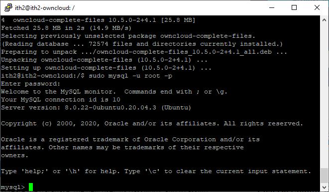 Installing Owncloud on Ubuntu 20.04 - MySql console.