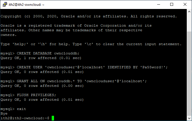 Installing Owncloud on Ubuntu 20.04 - Creating Owncloud dtabase and database user.