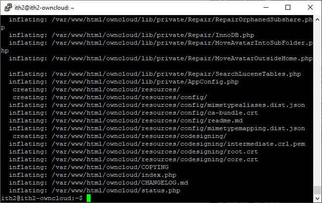 Installing Owncloud on Ubuntu 20.04 - Unzip owncloud.zip