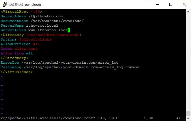 Installing Owncloud on Ubuntu 20.04 - Configure Apache2.