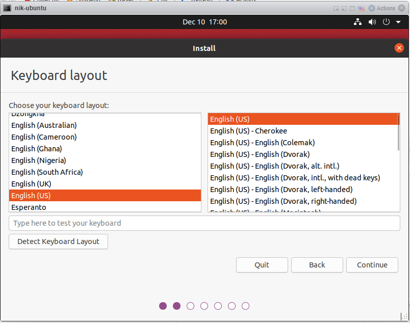 How to install Ubuntu 20/04 Desktop - keyboard layout.