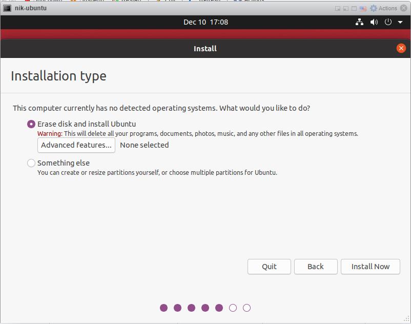 How to install Ubuntu 20/04 Desktop - Erase Disk Sceen