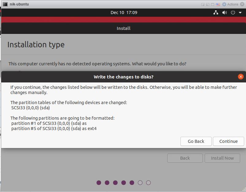 How to install Ubuntu 20/04 Desktop - Confirm disk format.