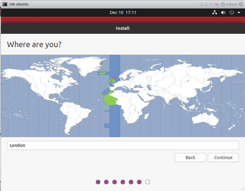 How to install Ubuntu 20/04 Desktop - Location.