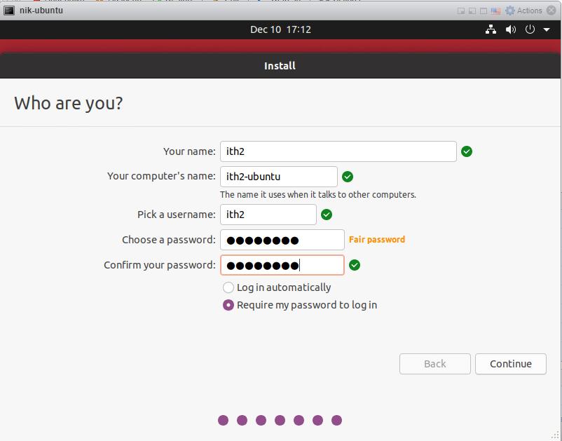 How to install Ubuntu 20/04 Desktop - User details
