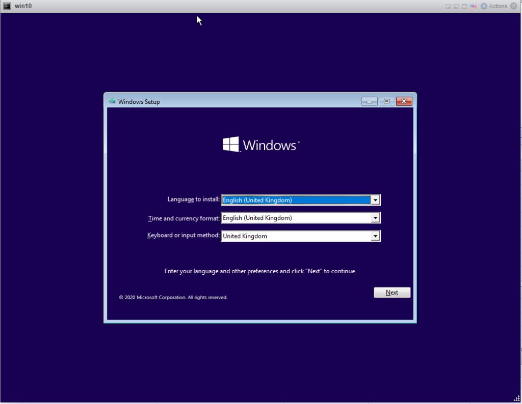 Installing Windows 10 Pro - Start page