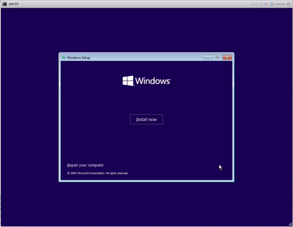 Installing Windows 10 Pro - Install now