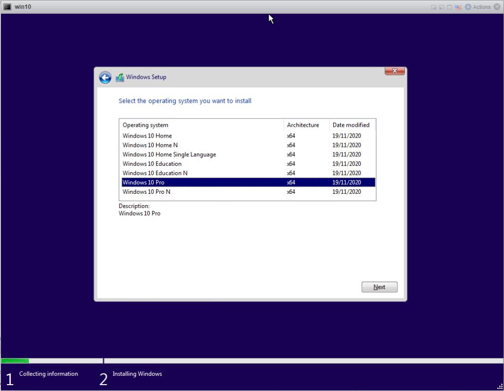 Installing Windows 10 Pro - Chose Version