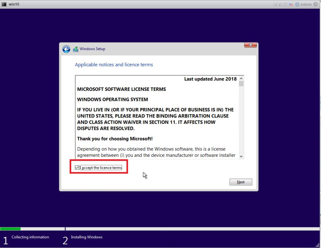 Installing Windows 10 Pro - accept license