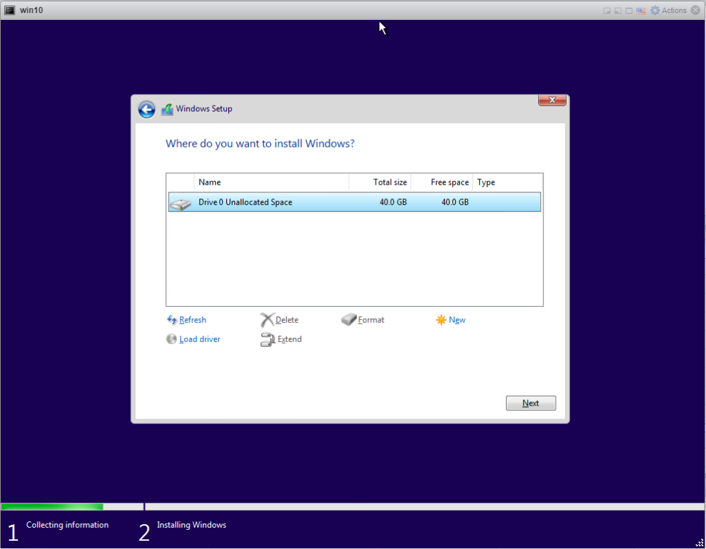 Installing Windows 10 Pro - Format disk.