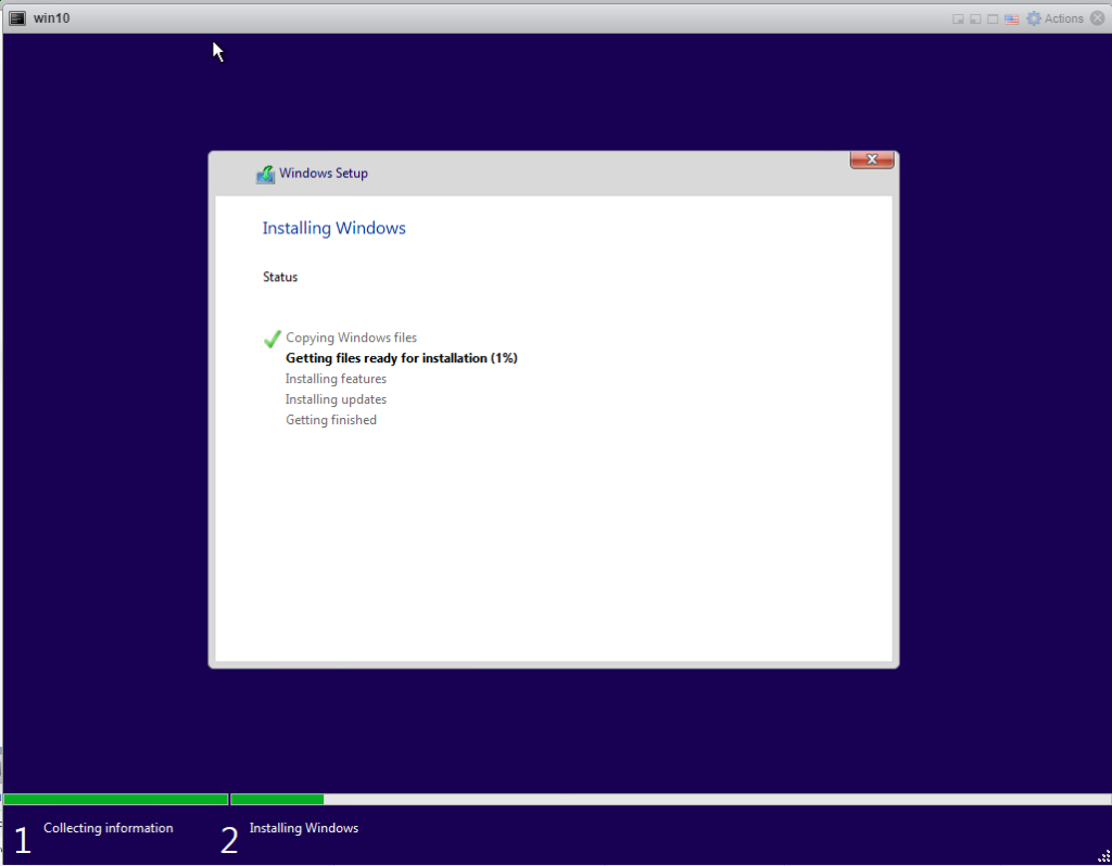 Installing Windows 10 Pro - Installing.