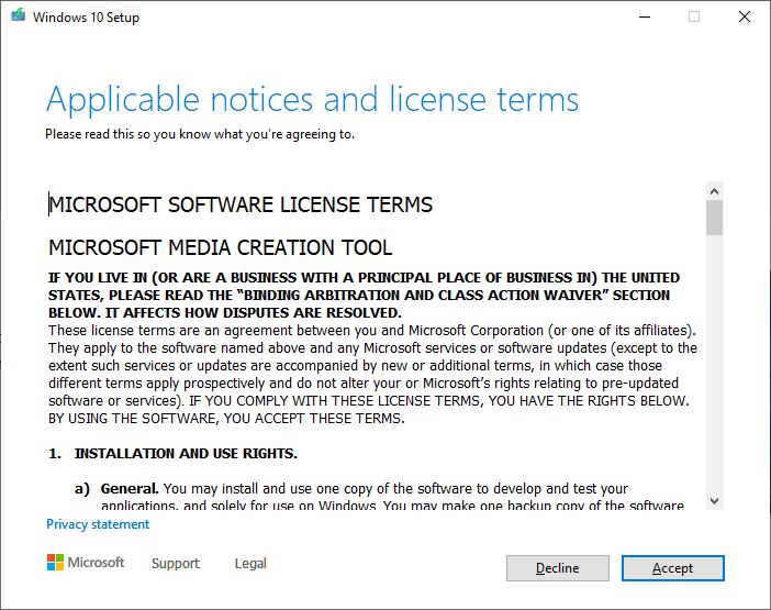 Create a Windows 10 ISO - Accept License