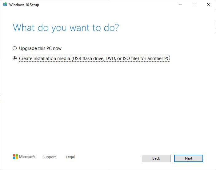 Create a Windows 10 ISO - Create media
