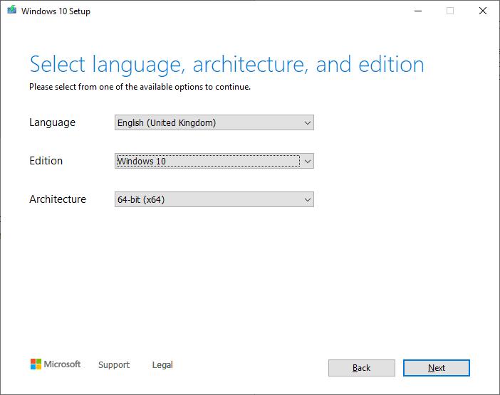 Create a Windows 10 ISO - Choose ISO options