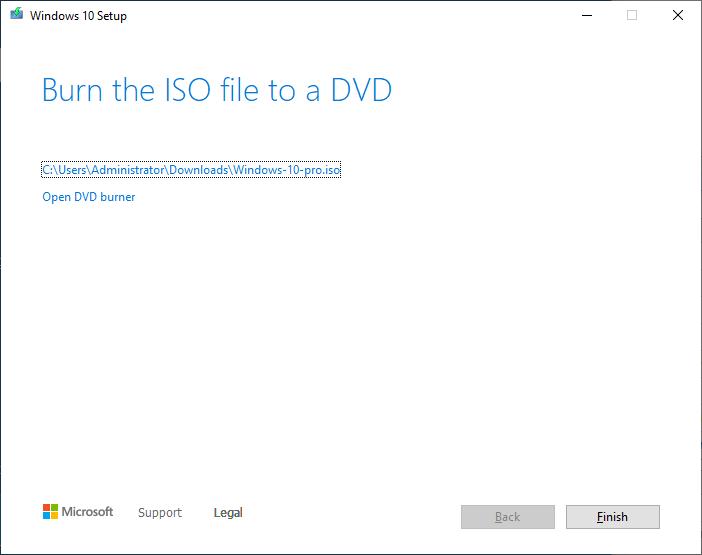 Create a Windows 10 ISO - click finish