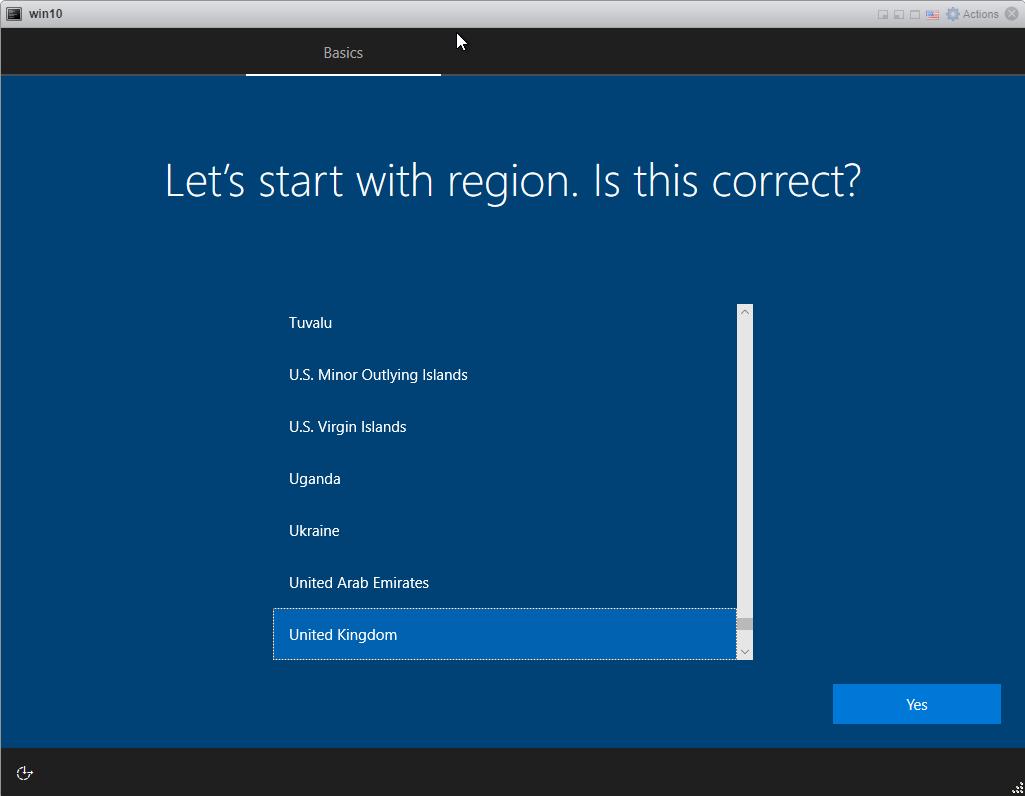 Installing Windows 10 Pro - choose Region