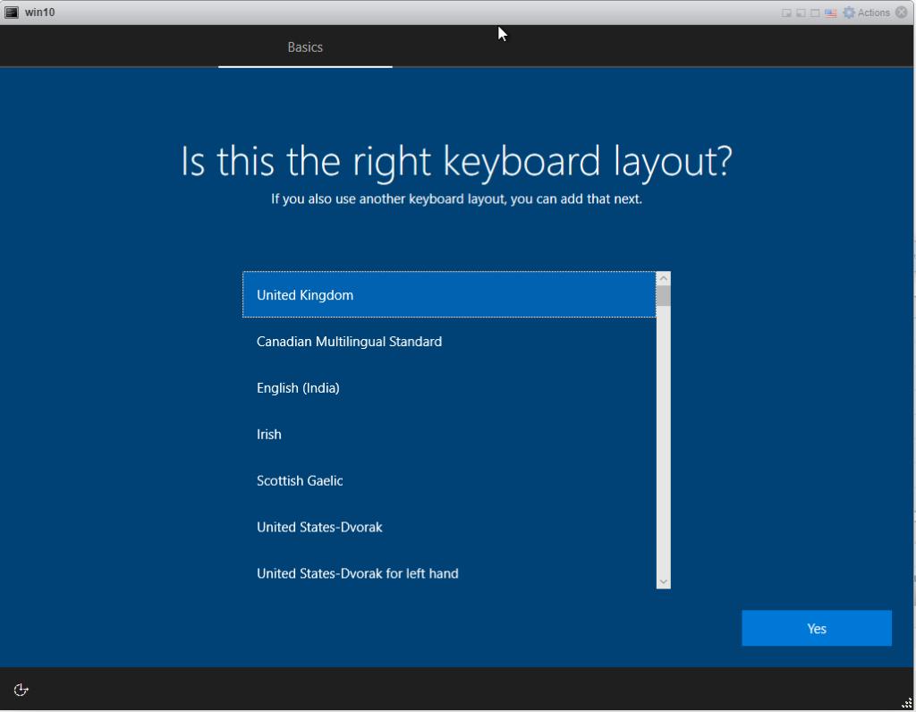 Installing Windows 10 Pro - select keyboard Layout
