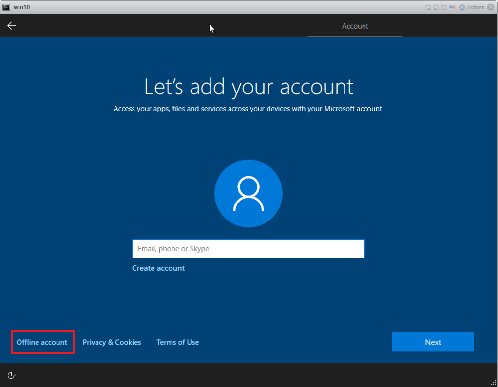 Installing Windows 10 Pro - Offline Account