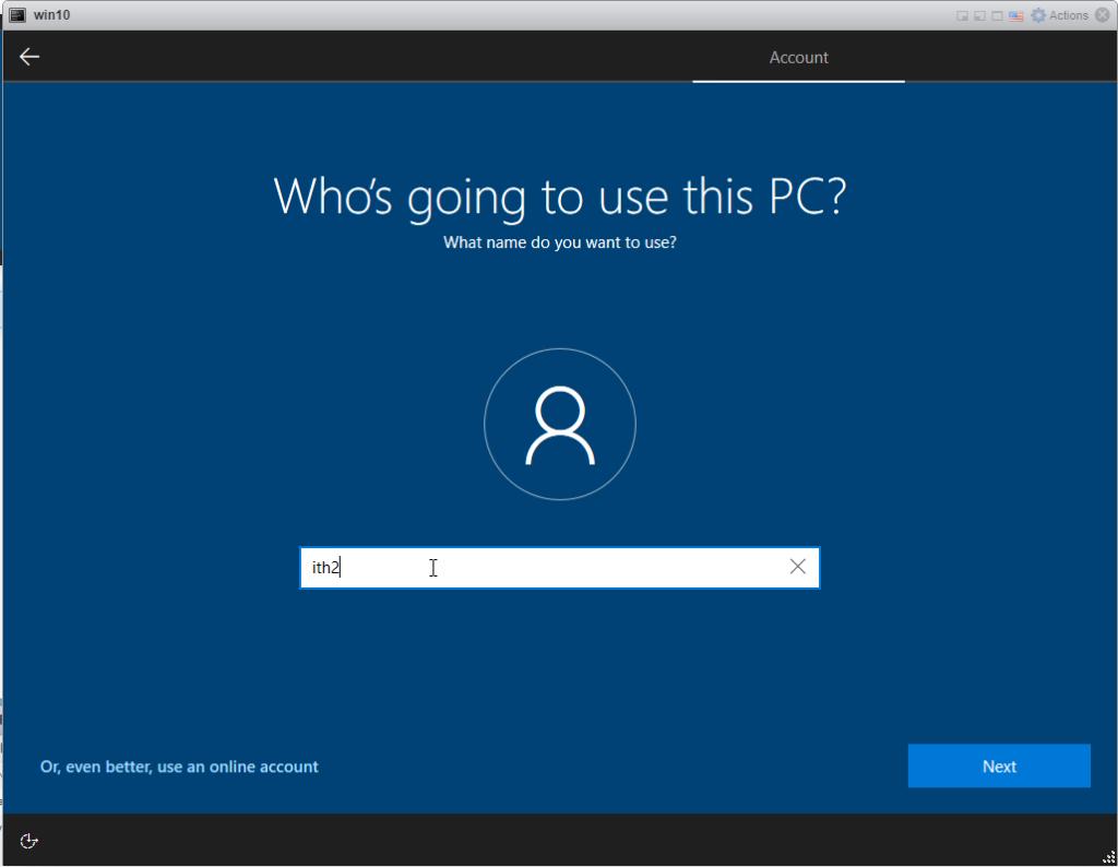 Installing Windows 10 Pro - add user