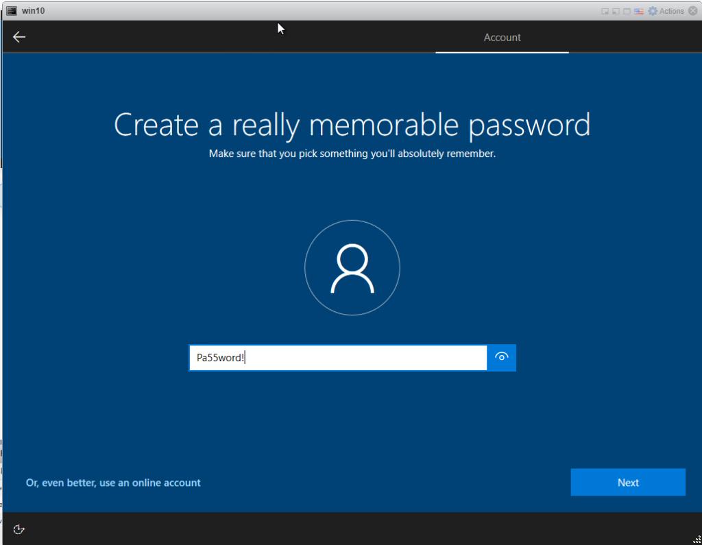 Installing Windows 10 Pro - add password