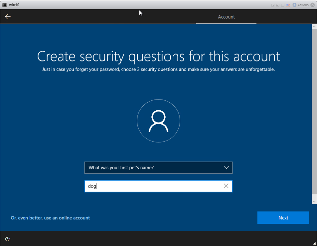Installing Windows 10 Pro - security question 1