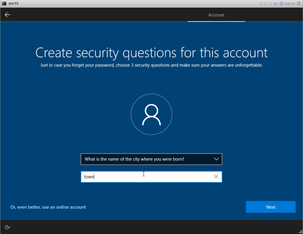 Installing Windows 10 Pro - security question 2