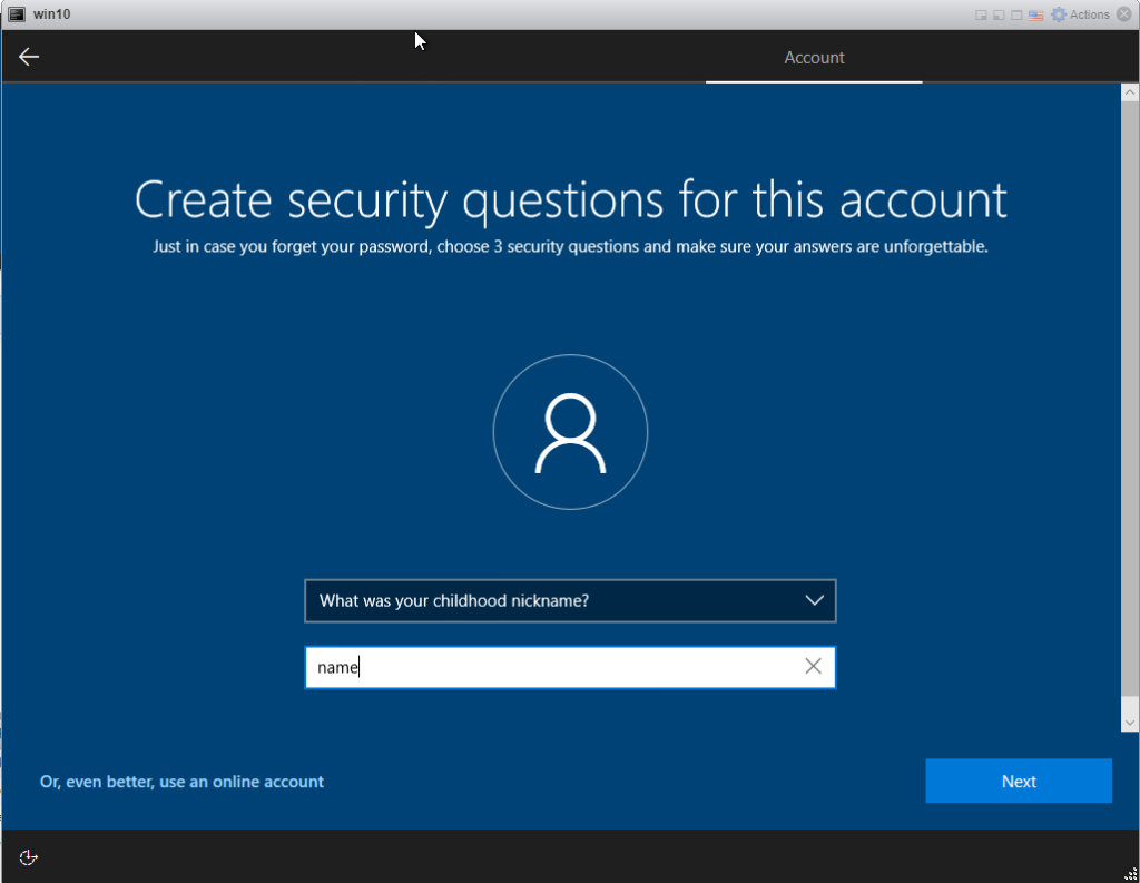 Installing Windows 10 Pro - security question 3