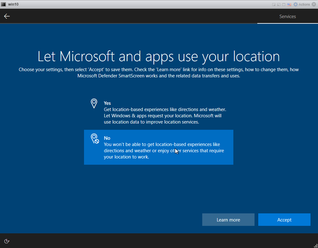 Installing Windows 10 Pro - Location service