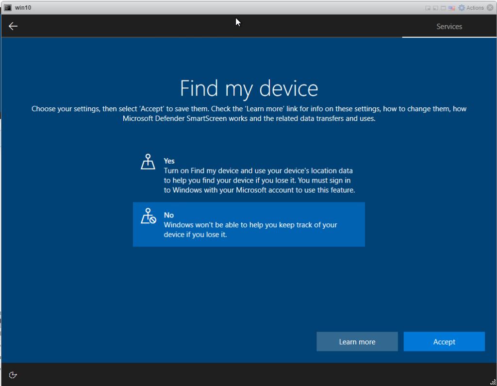 Installing Windows 10 Pro - Find my Device