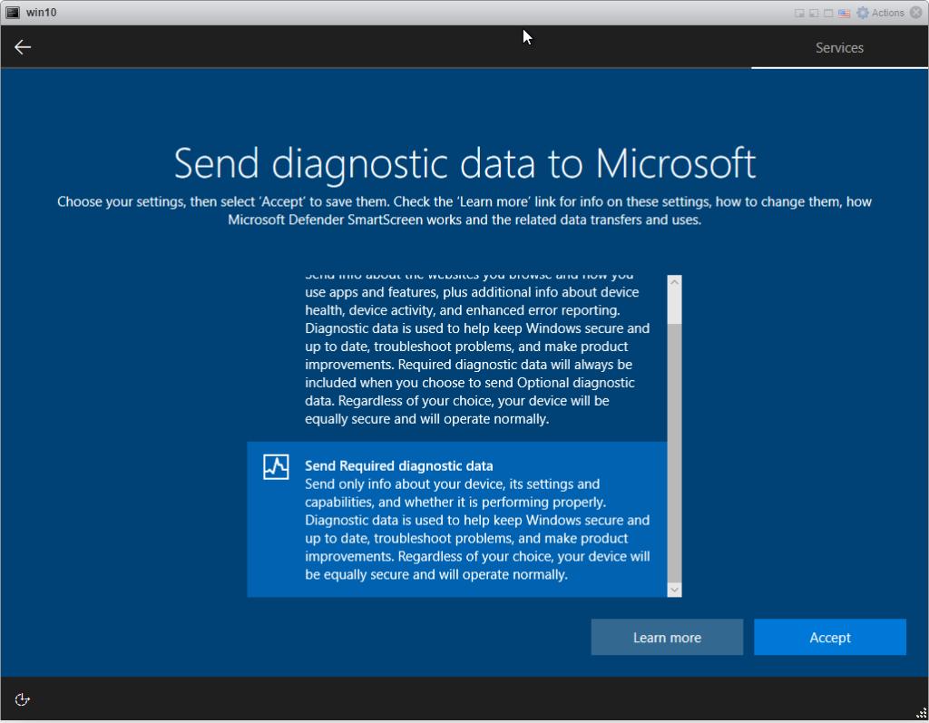 Installing Windows 10 Pro - Diagnostic Data