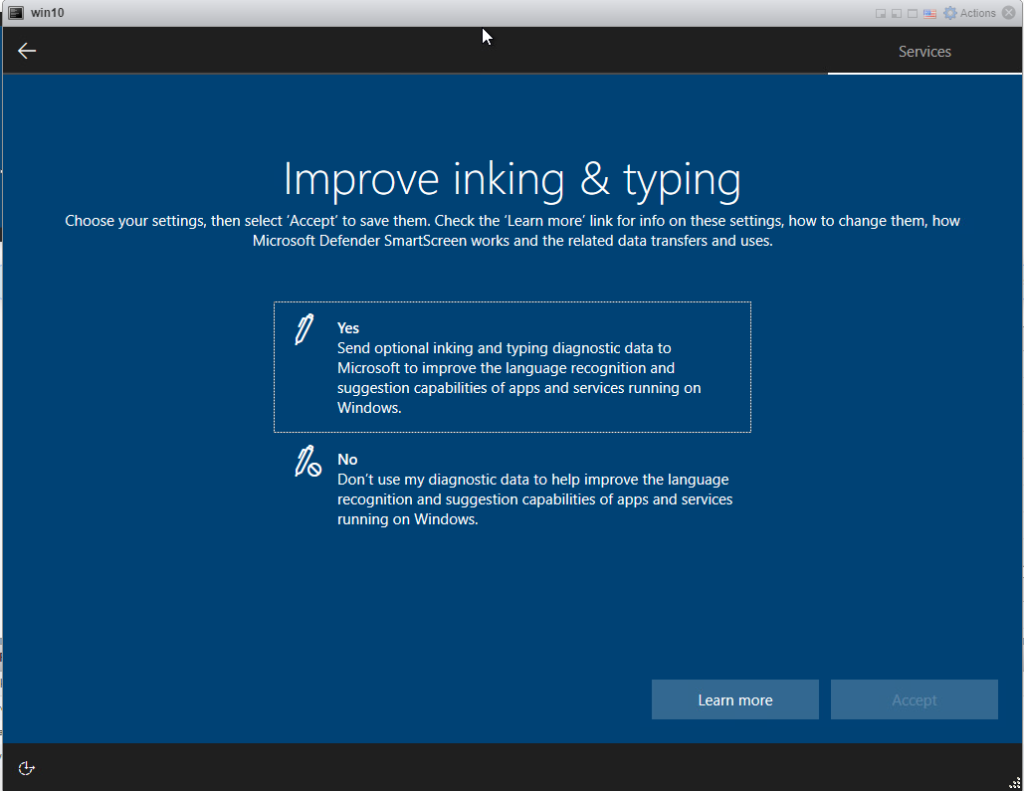 Installing Windows 10 Pro - Inking and Typing