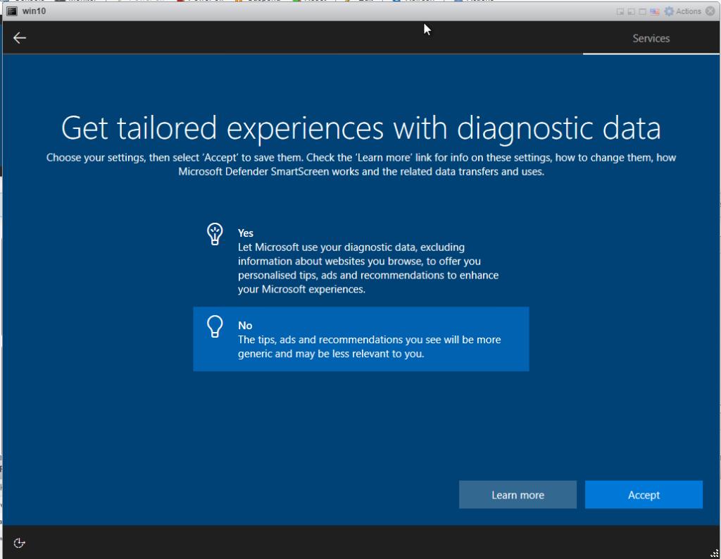 Installing Windows 10 Pro - Diagnostics