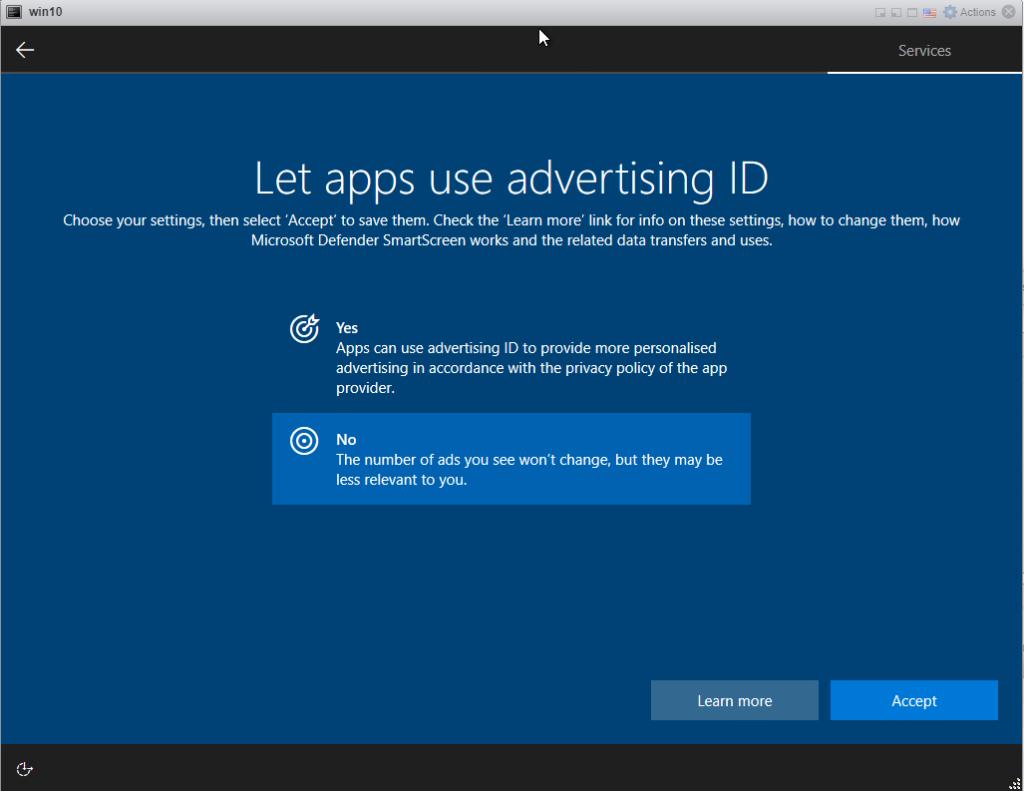 Installing Windows 10 Pro - Advertising ID