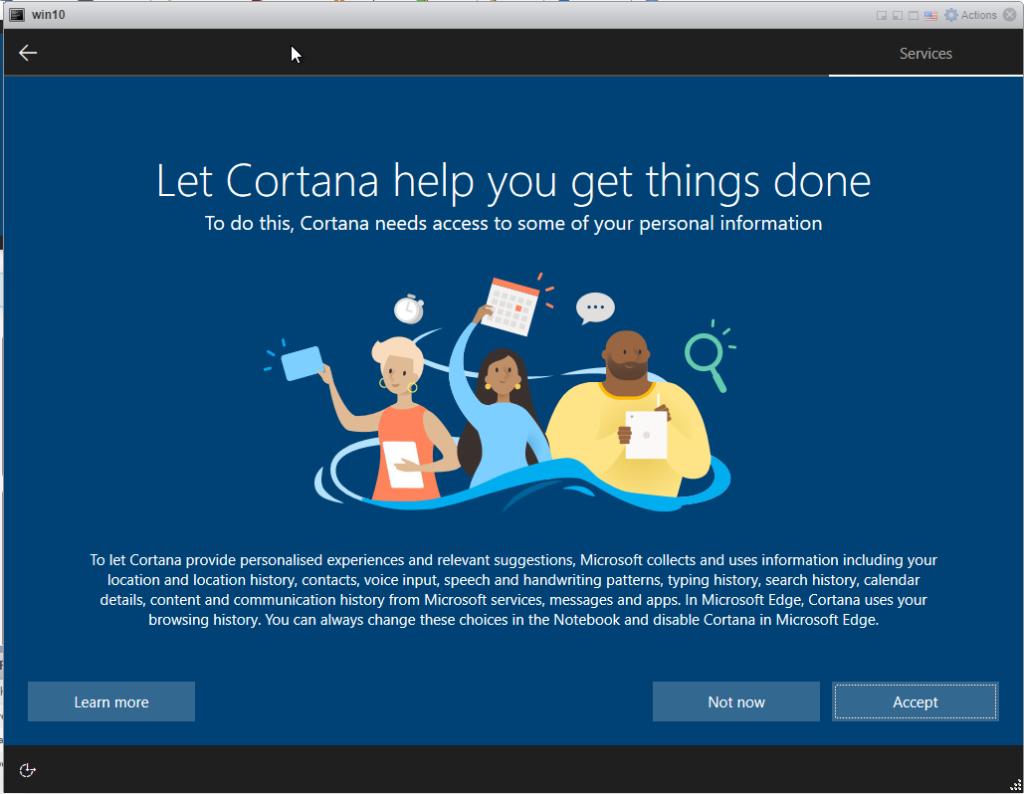Installing Windows 10 Pro - Cortana