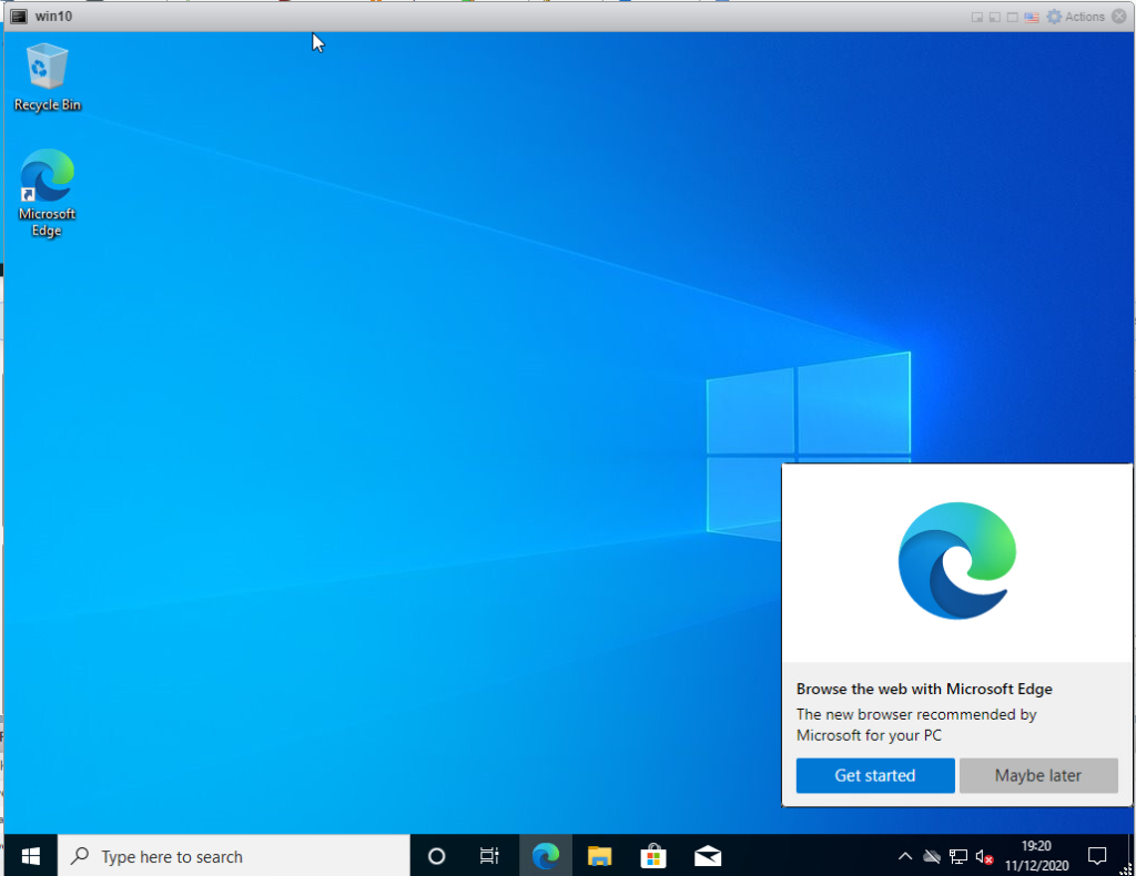 Installing Windows 10 Pro - Edge