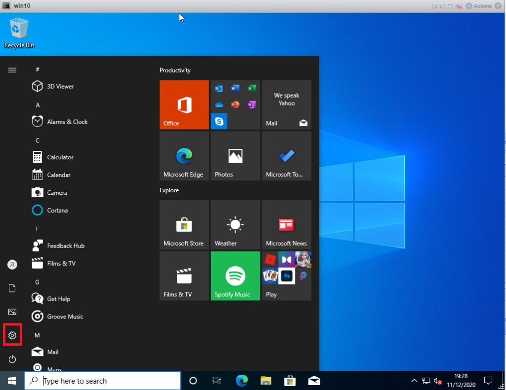 Running Windows updates on Windows 10 - click Settings