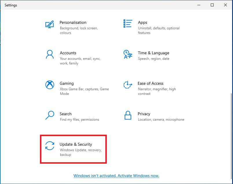 Running Windows updates on Windows 10 - Click Updates & Security
