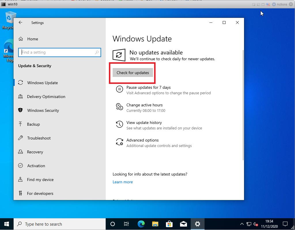 Running Windows updates on Windows 10 - click check for updates