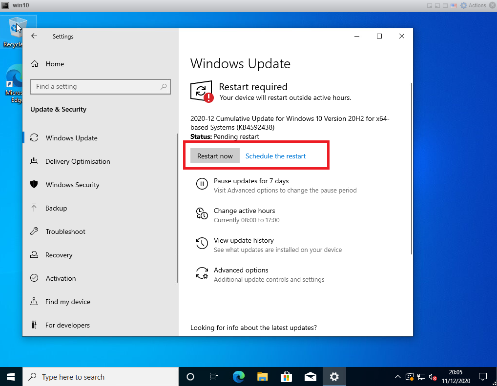 Windows 10 updates - reboot
