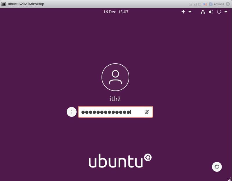 Ubuntu 20.10 - Type password
