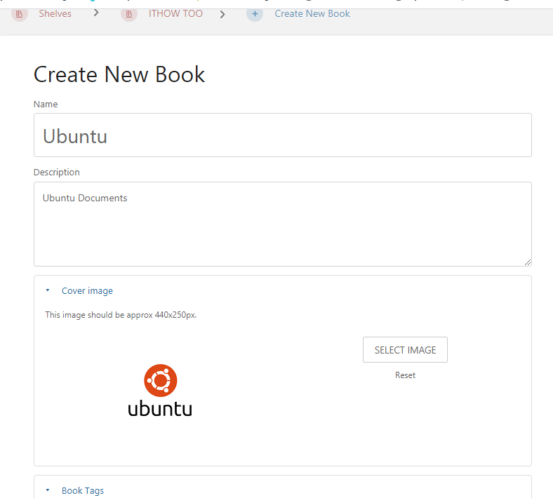 Bookstack Initial Setup - Fill in details