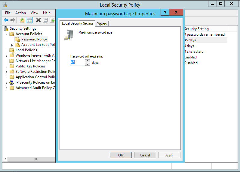 Disable Windows Server 2012 R2 users password expiry - Change Maximum password age.