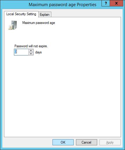 Disable Windows Server 2012 R2 users password expiry - save