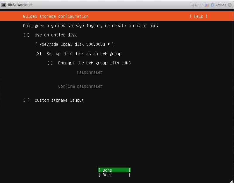 Installing Ubuntu 20.04.1 Server - Disk Settings