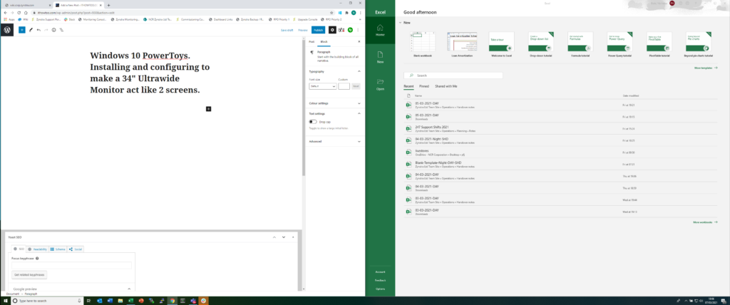 """Windows 10 PowerToys, Installing and configuring FancyZones to make a 34"""" Ultrawide Monitor act like 2 screens."""