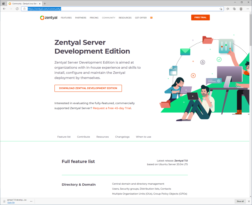 Download Zentyal Community Edition 7.0 Server ISO
