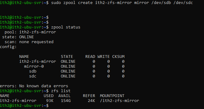 Install ZFS and create a ZFS pool on Ubuntu 20.04